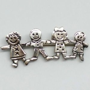 Sterling Silver Children Holding Hands Brooch